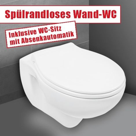 Wand-WC-Set Jonas | Spülrandlos | Inklusive WC-Sitz | Tiefspüler | Weiß | Spülrandlose Toilette | Spülrandloses Hänge-WC | Hängetoilette | Hygiene Plus