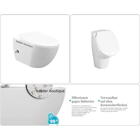 Wand-WC spülrandlos mit Bidetfunktion und integrierte Armatur und Urinal mit Deckel