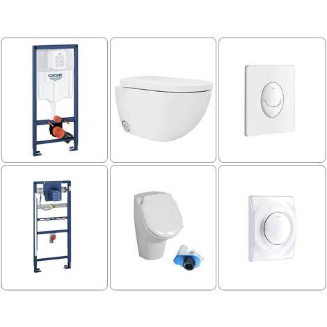 Wand WC spülrandlos mit Deckel und Urinal Grohe Set, verschiedene Ausführungen