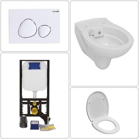 Wand WC spülrandlos mit SoftClose TakeOff WC-Sitz und Creavit Zubehör, verschiedene Ausführungen