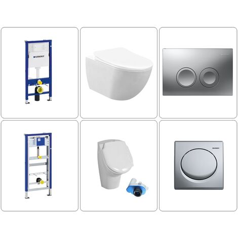 Wand WC spülrandlos mit Urinal Set Geberit chrom