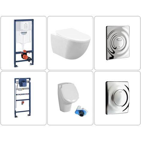 Wand WC spülrandlos mit Urinal Set Grohe, verschiedene Variationen
