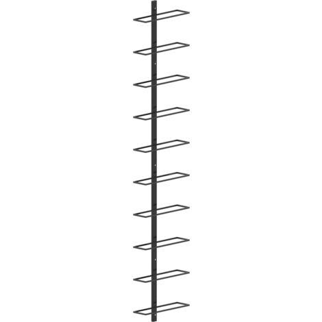 Wand-Weinregal für 10 Flaschen Schwarz Metall