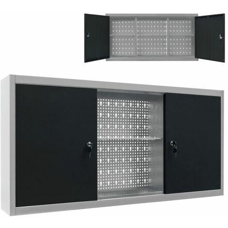 Wand-Werkzeugschrank Industrie-Stil Metall Grau und Schwarz