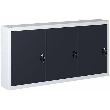 Wand-Werkzeugschrank Industriedesign Metall Grau und Schwarz