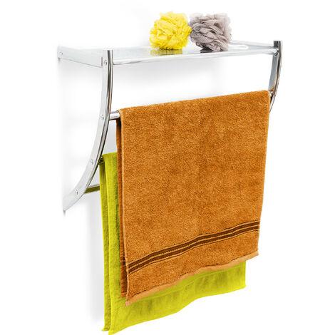 Wandhandtuchhalter Chrom HxBxT: ca. 43 x 56 x 23 cm Handtuchhalter zur Wandmontage mit 3 Handtuchstangen und Ablagefläche als Badregal oder kleine Wandgarderobe aus verchromtem Stahl, silber