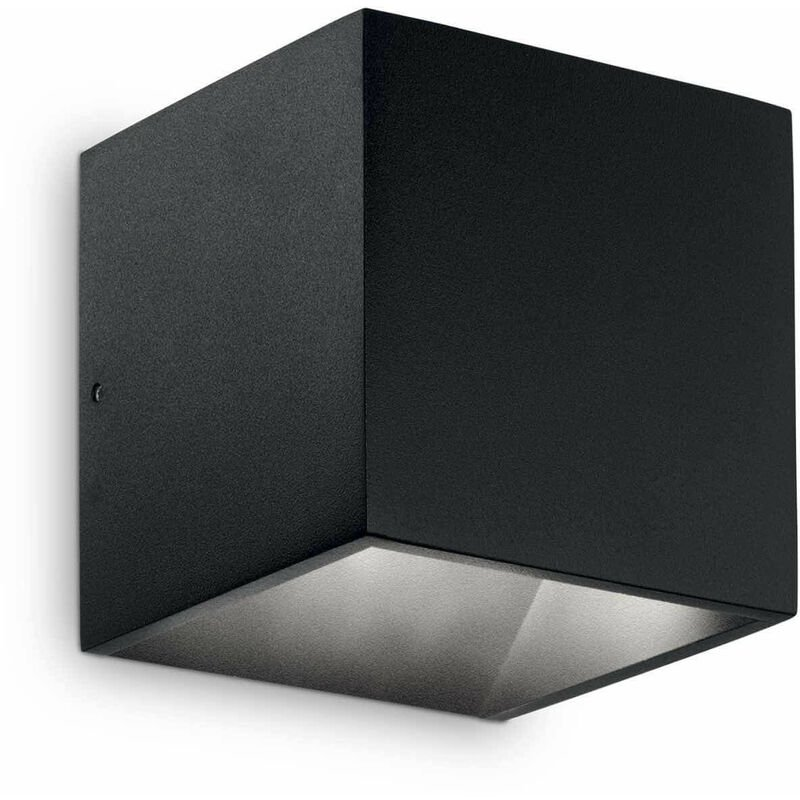 01-ideal Lux - Schwarze Wandleuchte RUBIK 1 Glühbirne