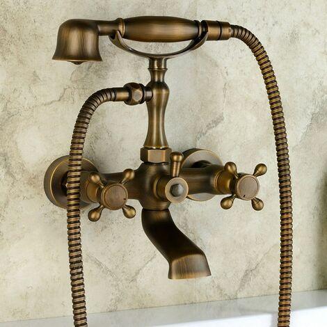 Wandmontierte Badewannenarmatur im Vintage-Stil aus antikem Messing