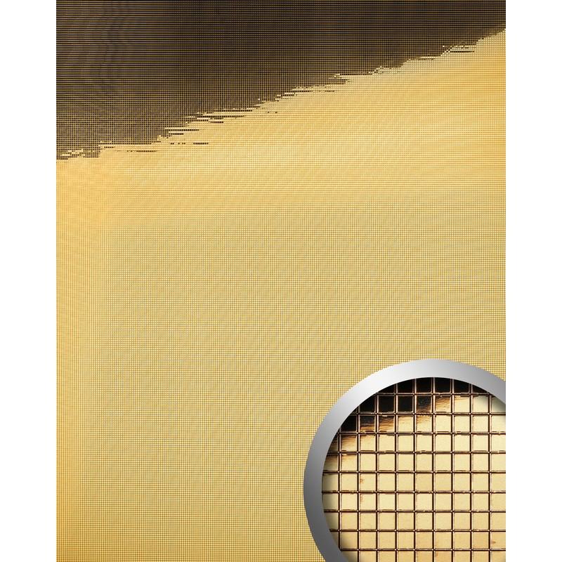 Wandpaneel Wandverkleidung WallFace 10592 M-Style Design-Platte EyeCatch  Metall Spiegel Mosaik Dekor selbstklebend tapete gold | 0,96 qm