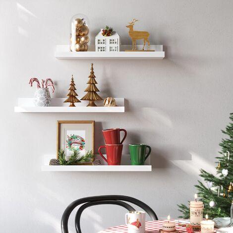 Wandregal 3er Set Schweberegale für Fotorahmen und Bücher, 38 x 10 cm, modernes Regal, Weiß LWS38WT