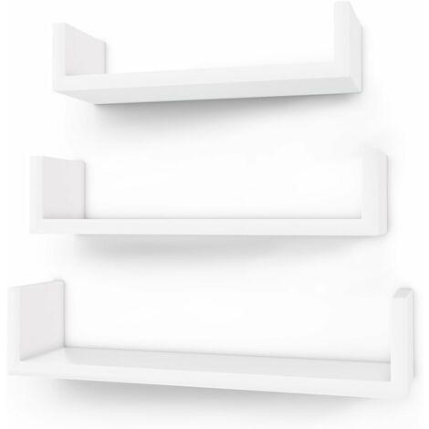 Wandregal 3er Set U-Form Schweberegal kreatives Lounge Cube Regal aus MDF-Platte Weiß LWS40WT