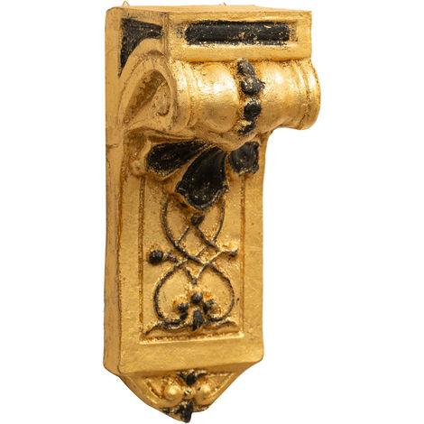 Wandregal aus Holz mit antikem Blattgold und schwarzem Finish Made in Italy