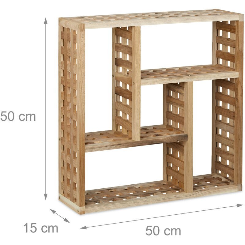 Wandregal Bad, Walnuss mit 5 Fächern, für Badezimmer, Flur und Wohnzimmer,  H x B x T: 50 x 50 x 15 cm, natur