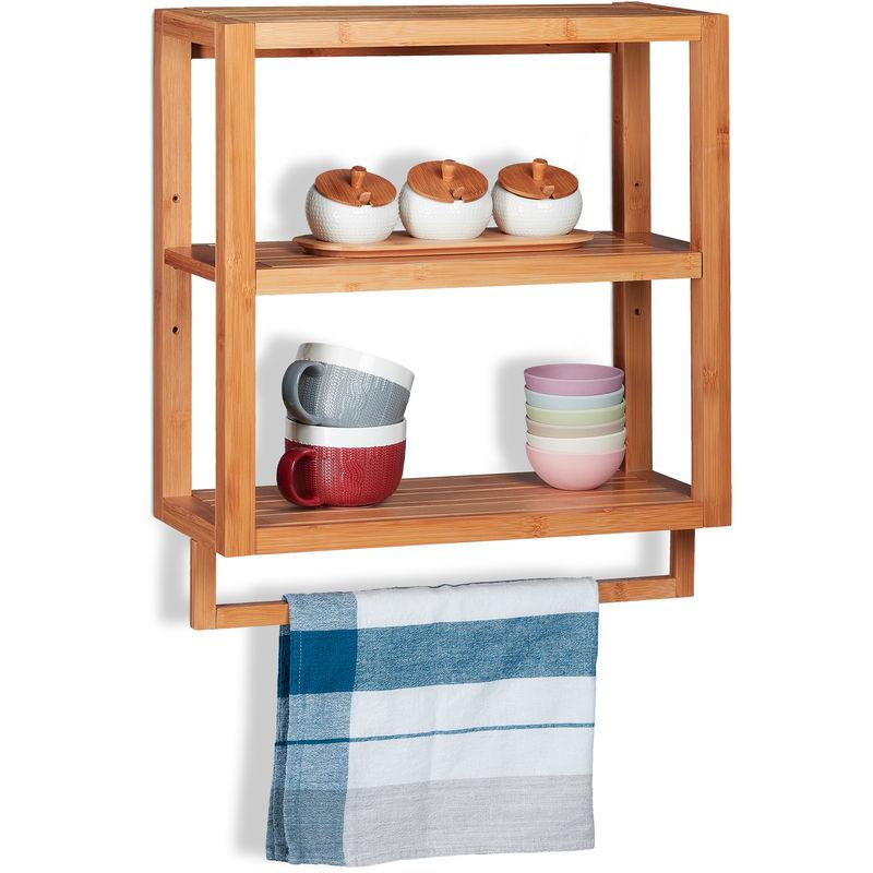 Wandregal Bambus, 3 Ablagen, Handtuchstange, Einlegeboden, Hängeregal für  Küche & Bad, HBT 58,5x52x21cm, natur