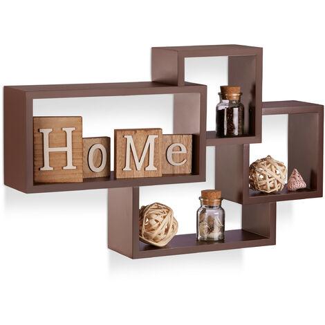 Wandregal Cube, 4 Fächer, Freischwebend, Modernes Design, Dekorativ, Belastbar, MDF, HBT: 42x69x12cm, Braun