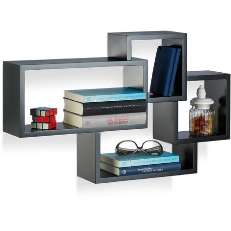 Wandregal Cube, 4 Fächer, Freischwebend, Modernes Design, Dekorativ, Belastbar, MDF, HBT: 42x69x12cm, Schwarz