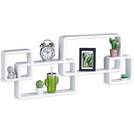 Wandregal Cube, Freischwebend, Modernes Design, Dekorativ, Steckbar, 4 Würfel, MDF, HxBxT: 42x104x10cm, Weiß