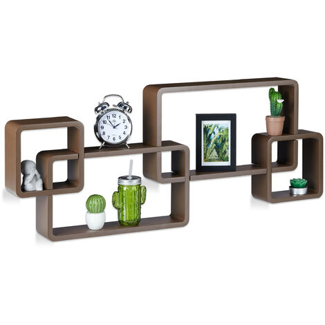Wandregal Cube, Schwebend, Modernes Design, Dekorativ, Steckbar, 4 Würfel, MDF, HxBxT: 42x104x10cm, braun