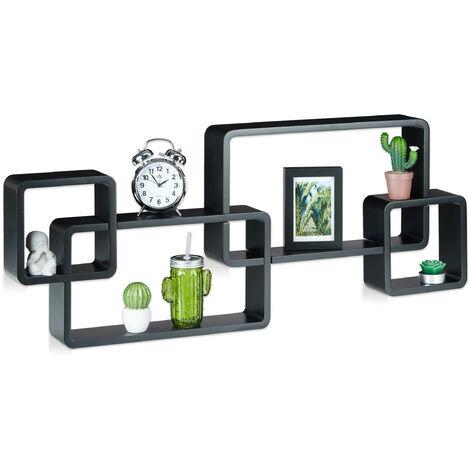 Wandregal Cube, Schwebend, Modernes Design, Dekorativ, Steckbar, 4 Würfel, MDF, HxBxT: 42x104x10cm, Schwarz
