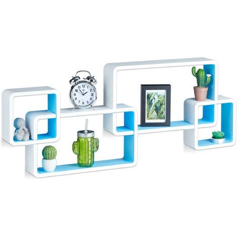 Wandregal Cube, Schwebend, Modernes Design, Dekorativ, Steckbar, 4 Würfel, MDF, HxBxT: 42x104x10cm, Weiß-Blau