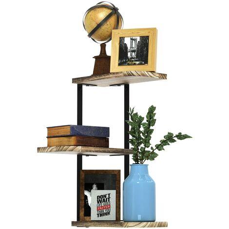 Wandregal Eckregal mit 3 Ablagen, Rustikales Schweberegal Hängeregal Bücherregal für Wohnzimmer, Büro, Schlafzimmer, Flur,Küche