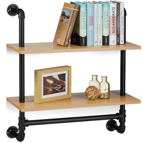 Wandregal Industrie, 2 Ablagen, Wandmontage Bücherregal, Holz, Vintage, Retro-Look, HBT: 68,5x60x24 cm, natur