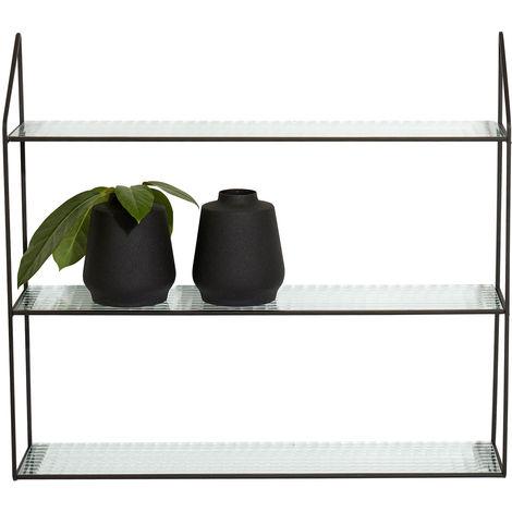 Wandregal mit 3 Ablagen 60x15xH54cm Metall/Glas Schwarz Wandboard Hängeregal Metallregal