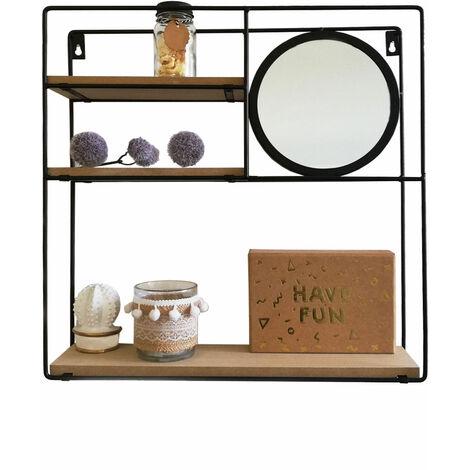 Wandregal mit rundem Spiegel 40x10xH40cm Metall Schwarz, Wandboard Wandablage Hängeregal Metallregal