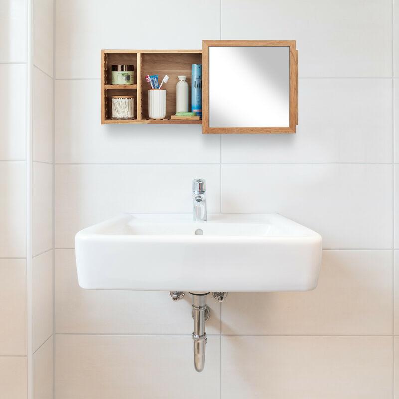 Wandregal mit Spiegel, Walnuss, verschiebbarer Spiegel, geöltes Holz, 80 cm  breit, besonders fürs Badezimmer, natur