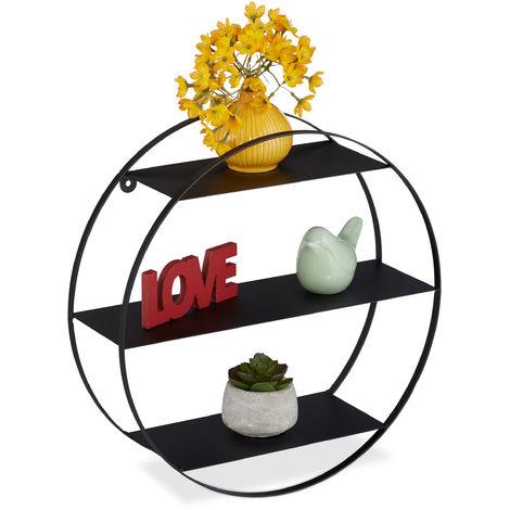 Wandregal, rundes Dekoregal, 3 Ablagen, Metall, Wohn- & Schlafzimmer, Küche, Hängeregal, Ø 36,5 cm, schwarz