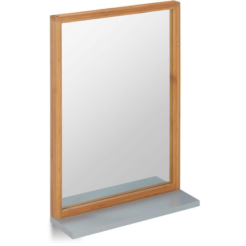 wandspiegel mit ablage spiegel zum aufh ngen badspiegel holzrahmen flurspiegel aus bambus