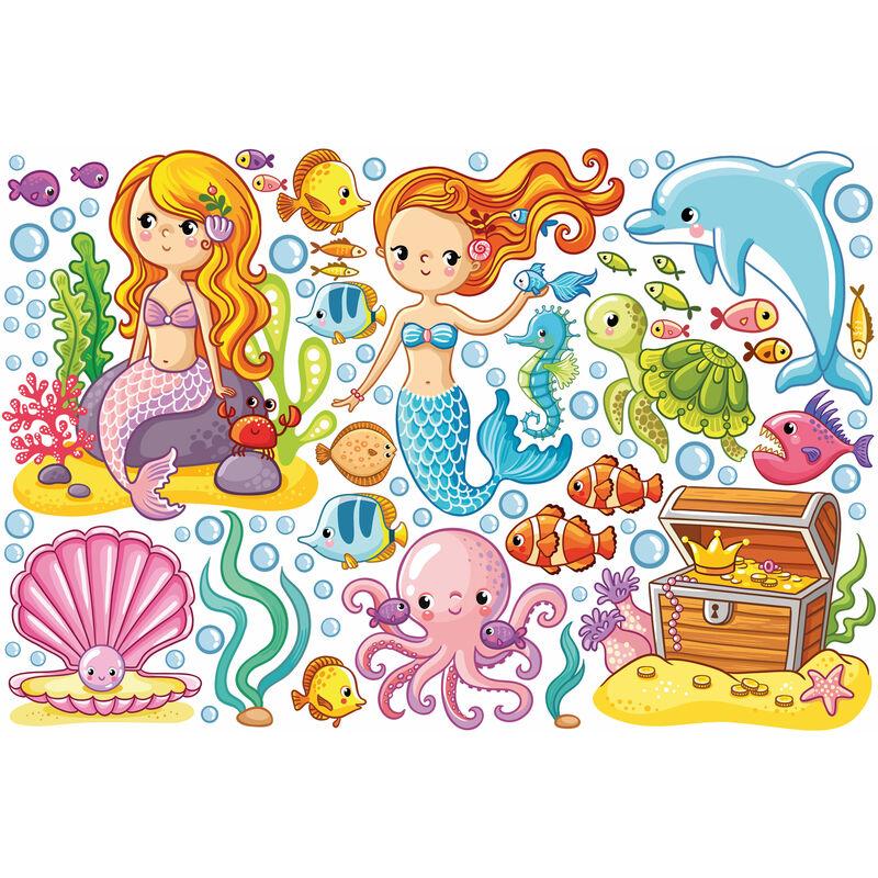 Wandtattoo Kinderzimmer Meerjungfrau Unterwasserwelt Set Grosse Hxb 30cm X 45cm 0 0 706025