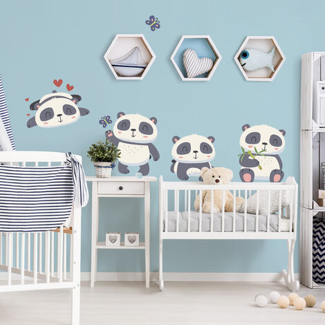 Wandtattoo Kinderzimmer Süßes Pandabären Set Größe HxB: 45cm ...