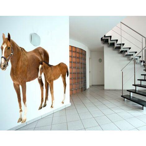 Wandtattoo Pferd No.306 Stute & Fohlen Größe HxB: 122cm x 143cm
