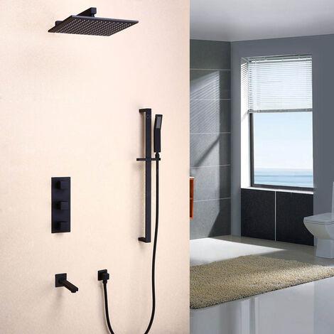 Wandthermostat-Duschsystem schwarz Messing massiv Thermostat-Wandhalter 300 mm
