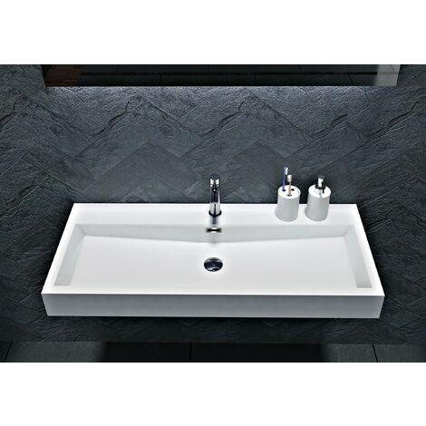 Wandwaschbecken Aufsatzwaschbecken BS6002 - Breite 76,5cm / 100cm:76.5cm - mit Armaturloch