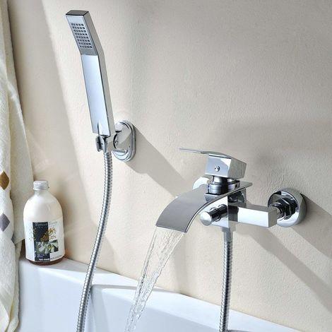 Wannenarmatur Badewanne Armatur Badewannen- & Duschsysteme Duscharmatur Wasserhahn inkl. Wandhalterung mit Handbrause für Bad Badezimmer Dusche