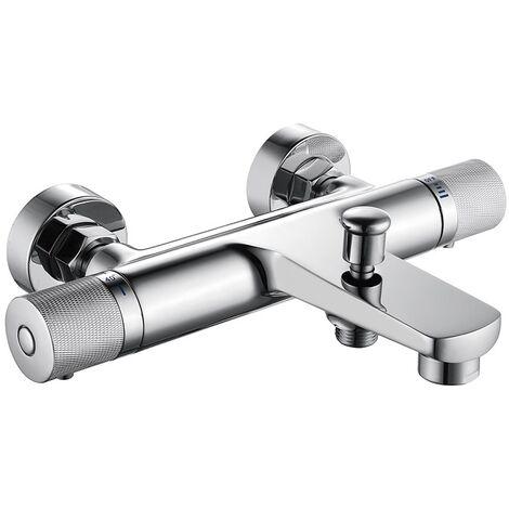Wannenarmatur Thermostat einstellbarer Wasserdurchfluss Badewannenarmatur mit Sicherheitsknopf 40℃ Wannenbatterie Mischbatterie Dusche Thermostat Armatur Bad Messing Wannenthermostat verchromt