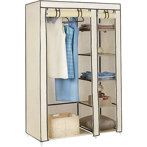 Wardrobe 110 x 45 x 175cm Beige Wardrobe Storage