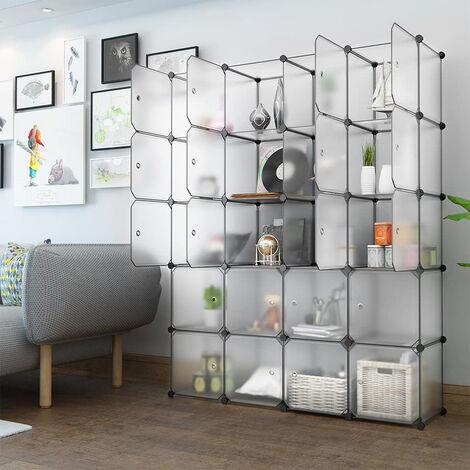 Wardrobe 147 * 37 * 183cm Storage Shelf Modular Furniture Translucent White Plastic