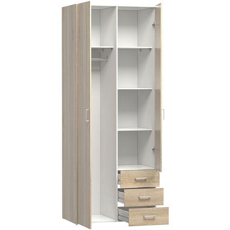 Wardrobe - 2 Doors 3 Drawers in Oak Brown Wood