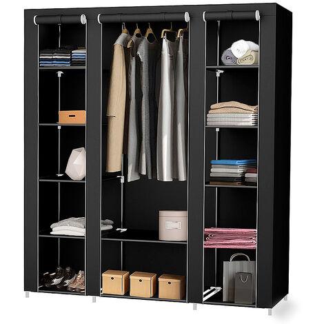 Wardrobe, 3 doors, 172 x 134 x 43 cm, Black, Weight: 3 kg