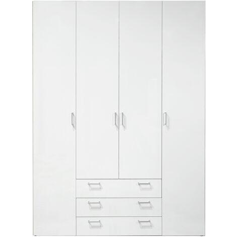 Wardrobe - 4 Doors 3 Drawers in White White Wood