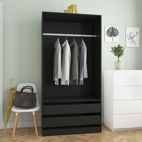 Wardrobe Black 100x50x200 cm Chipboard - Black