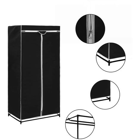 Wardrobe Black 75x50x160 cm