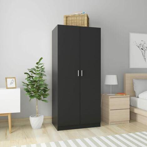 Wardrobe Black 80x52x180 cm Chipboard - Black
