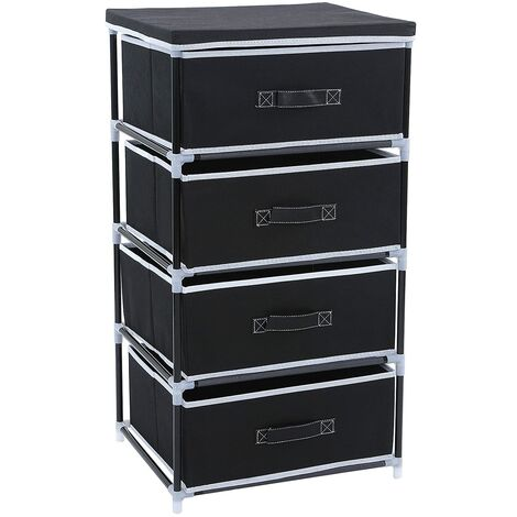 Wardrobe Cabinet Multiple-Purpose Storage Tower Unit with 4 Drawers 84.5 x 45 x 38cm Black RLG14H