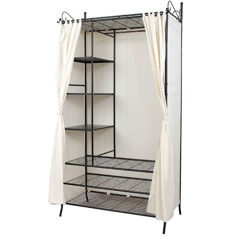 Wardrobe Clothes Cupboard Hanging Rail Storage Shelves with Metal Frame and Cover 108 x 210 x 58cm RTG04H - Black