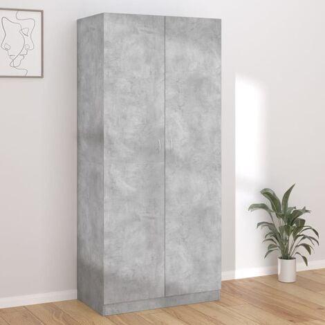 Wardrobe Concrete Grey 90x52x200 cm Chipboard - Grey