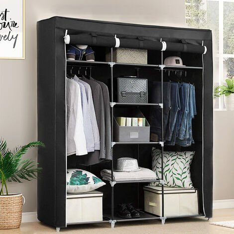 Wardrobe Cupboard Clothes Hanging Rail Storage Shelves Black 175 x 150 x 45cm